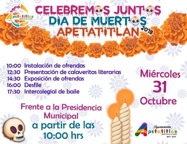 Invita Apetatitlán al Festival Celebremos Juntos el de Día de Muertos