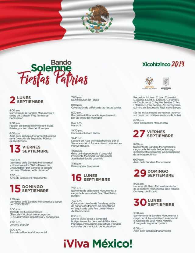 Invita Gobierno Municipal de Xicohtzinco a disfrutar Fiestas Patrias