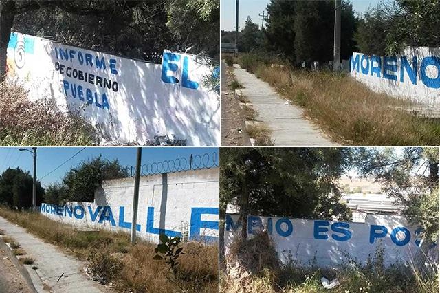 Se promociona gobernador de Puebla en bardas de Tlaxcala
