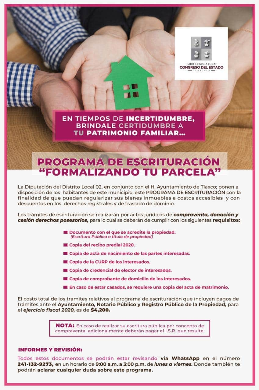 Michaelle Brito conmina a ciudadanía de Tlaxco a regularizar sus propiedades