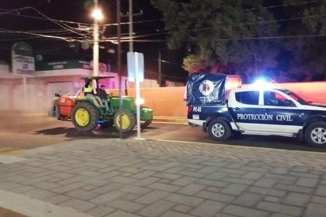 Protección Civil del estado acude a Santa Cruz Tlaxcala para sanitización