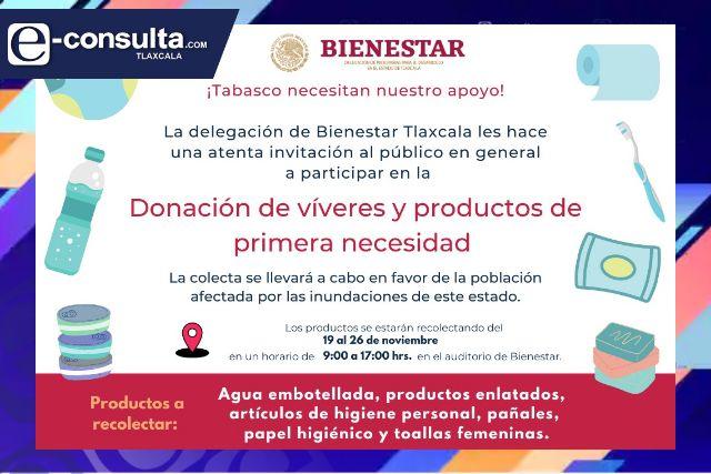 Invita  Bienestar a colecta de víveres para damnificados de Tabasco