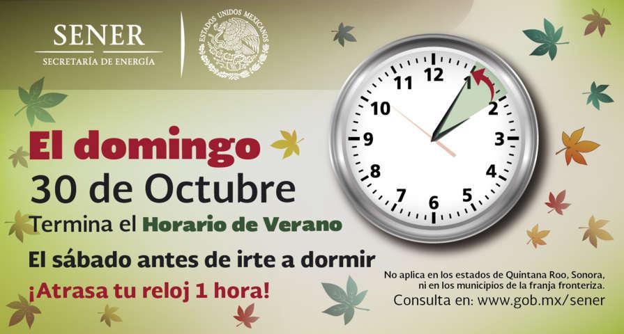 El domingo 30 de octubre concluye el Horario de Verano 2016.
