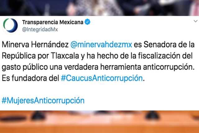 Reconoce Transparencia Mexicana Trabajo Anticorrupción de Minerva Hernández