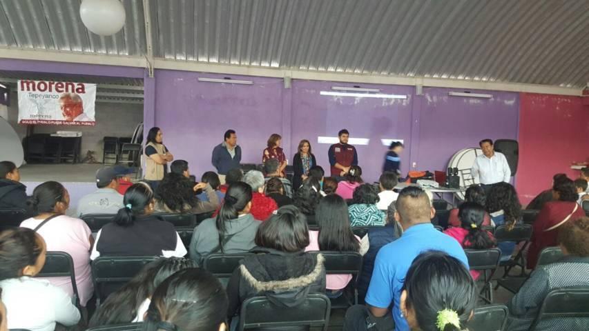 Lorena Cuéllar realiza campaña de credencialización de MORENA