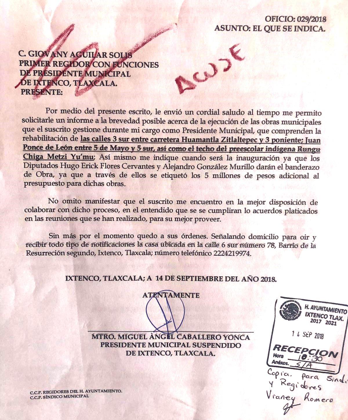 Alcalde interino de Ixtenco quiere hacer caravana con sobrero ajeno
