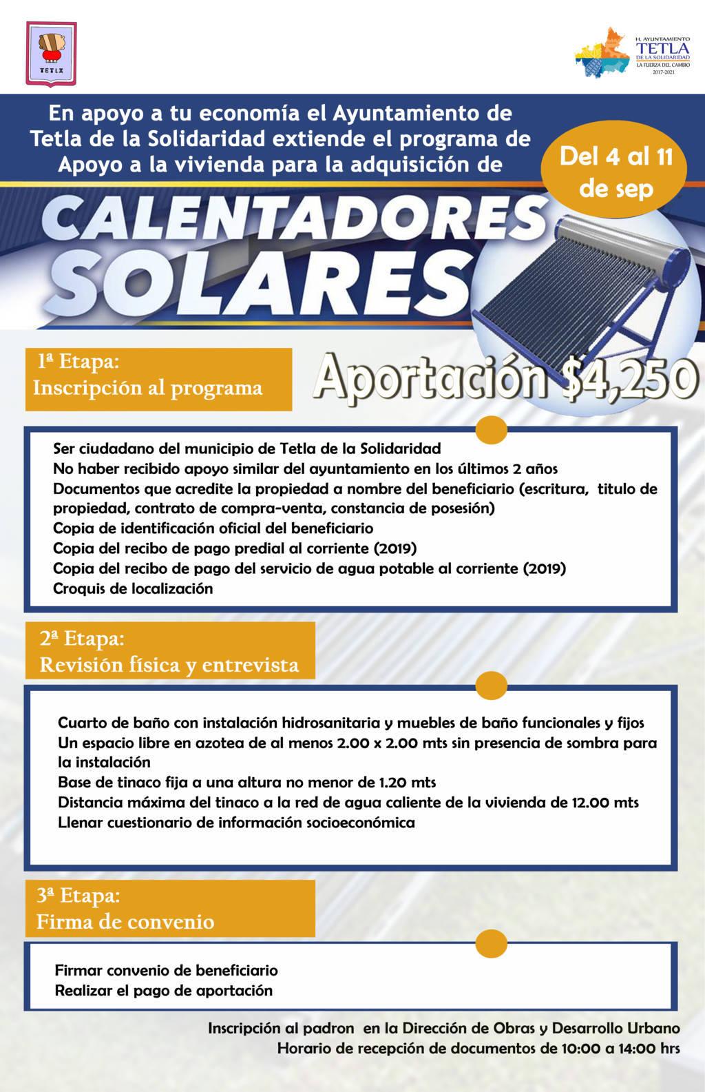 Ayuntamiento de Tetla amplía plazo para adquirir calentadores solares