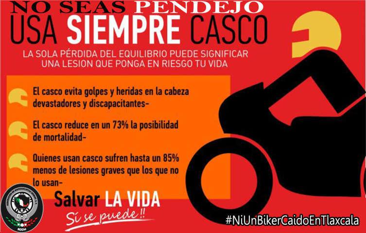 Arranca campaña para el uso de caso en motociclistas de Tlaxcala