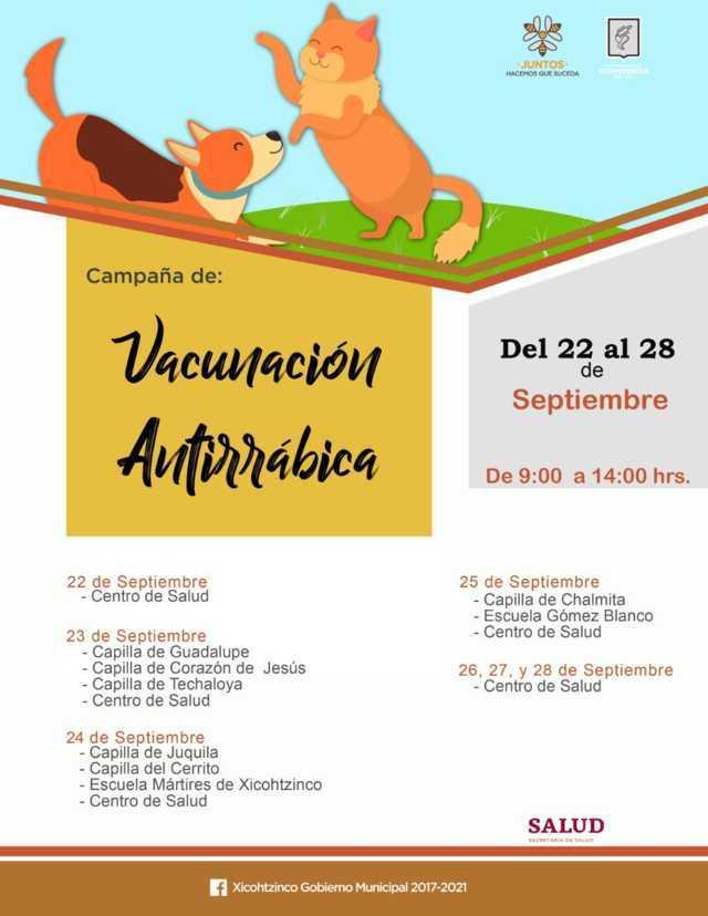 Inicia campaña de vacunación antirrábica en Xicohtzinco