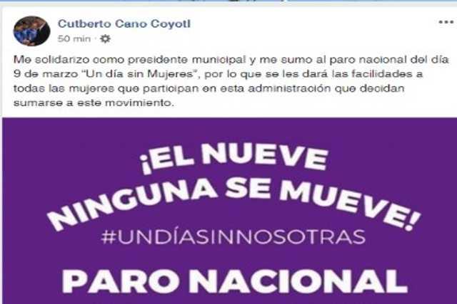 Cuberto Cano se inclina a la iniciativa Un Dia Sin Mujeres