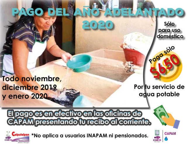 Inicia en Calpulalpan campaña de pago adelantado de agua potable con descuento