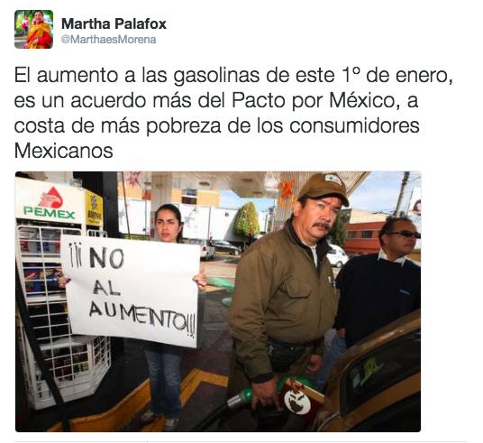 """""""Aumento a las gasolinas es una medida abusiva e impune"""": Martha Palafox"""