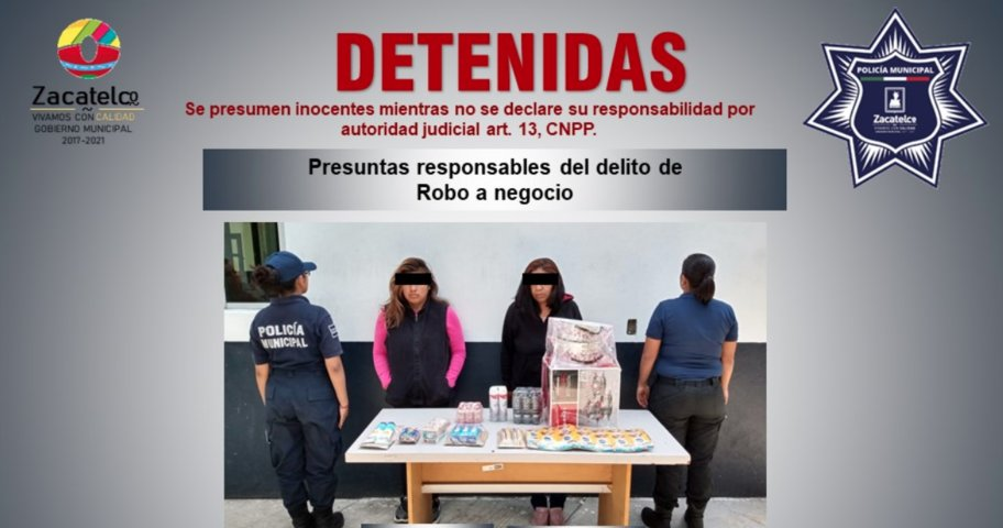 Policía de Zacatelco detiene a dos mujeres por supuesto delito de robo