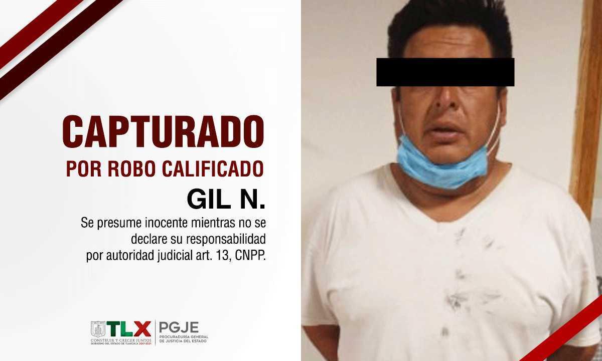 Captura PGJE a imputado por robo calificado en Puebla