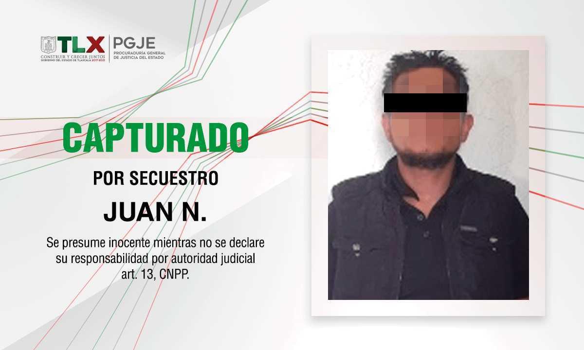 Captura PGJE a sujeto involucrado en el secuestro de un hombre en Tlaxco