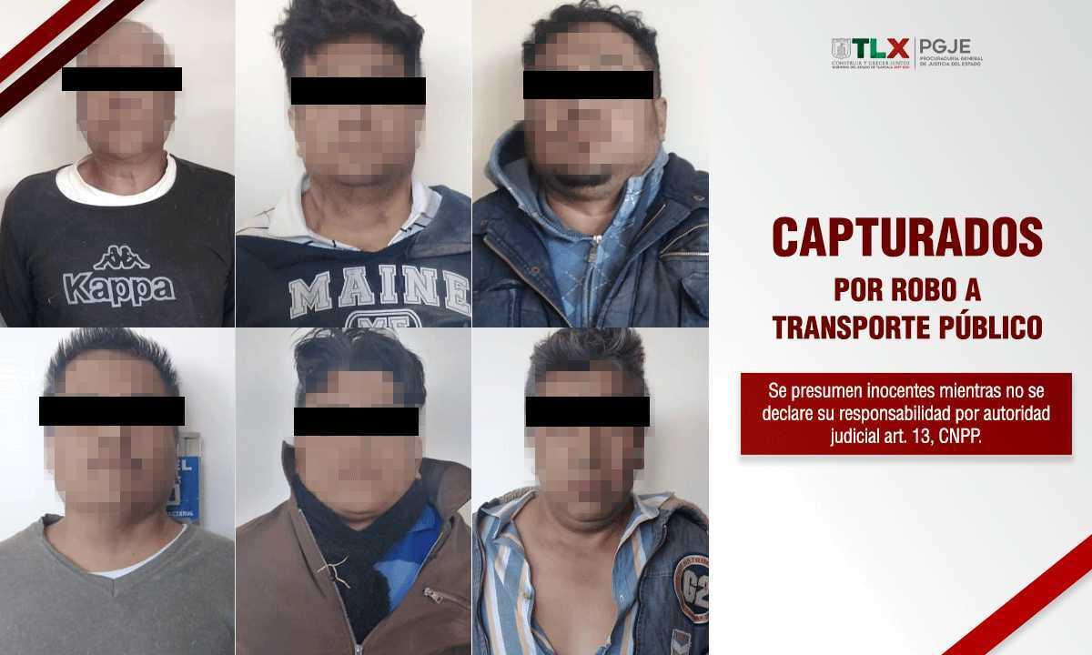 Capturan en Tlaxcala a 6 integrantes de una banda de ladrones del transporte público