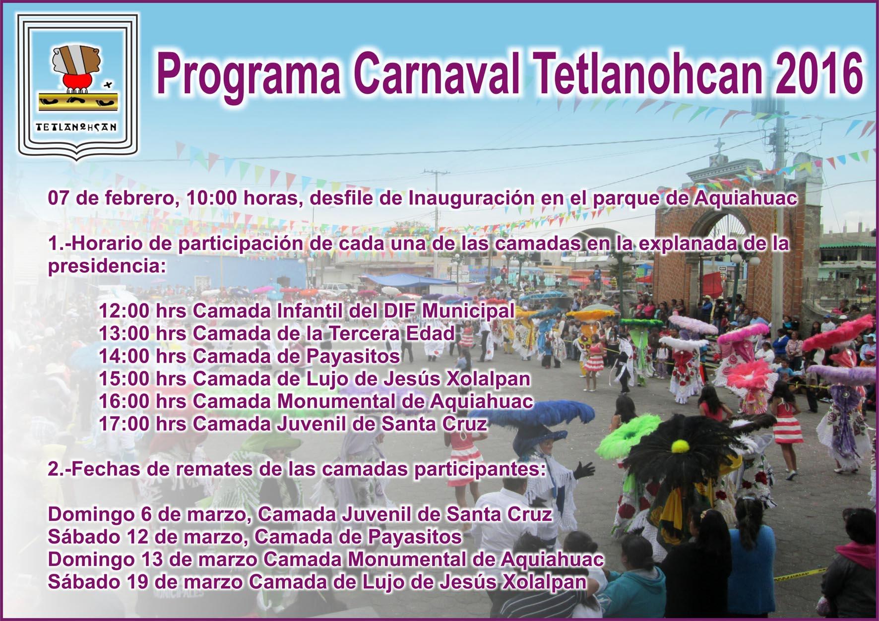 Difunde ayuntamiento de Tetlanohcan programa de Carnaval 2016