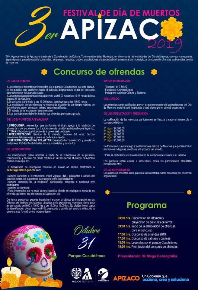 Anuncia Gobierno de Apizaco Tercer Festival de Día de Muertos 2019