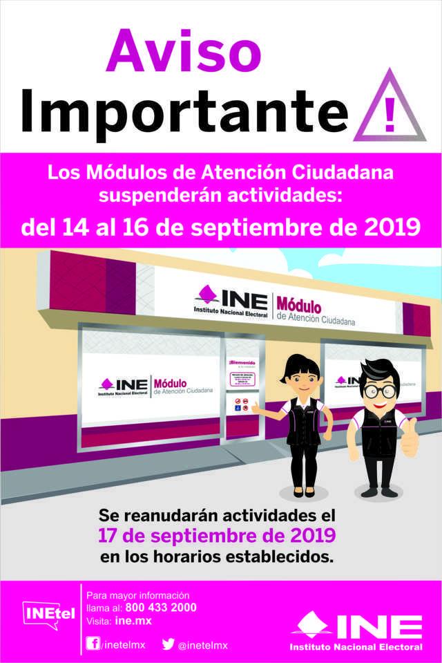 Por fiestas patrias, módulos del INE Tlaxcala suspenderán actividades