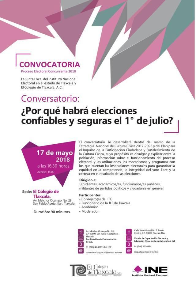 Conversarán INE Tlaxcala e ITE sobre elecciones seguras y confiables el 1 de julio
