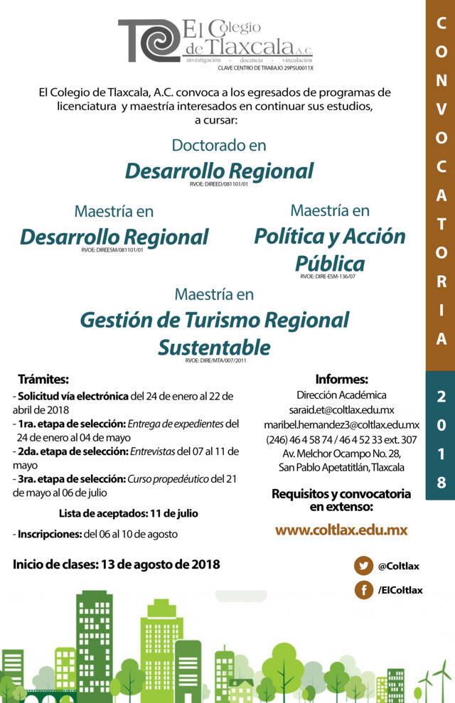 Abre Coltlax convocatoria de posgrados 2018