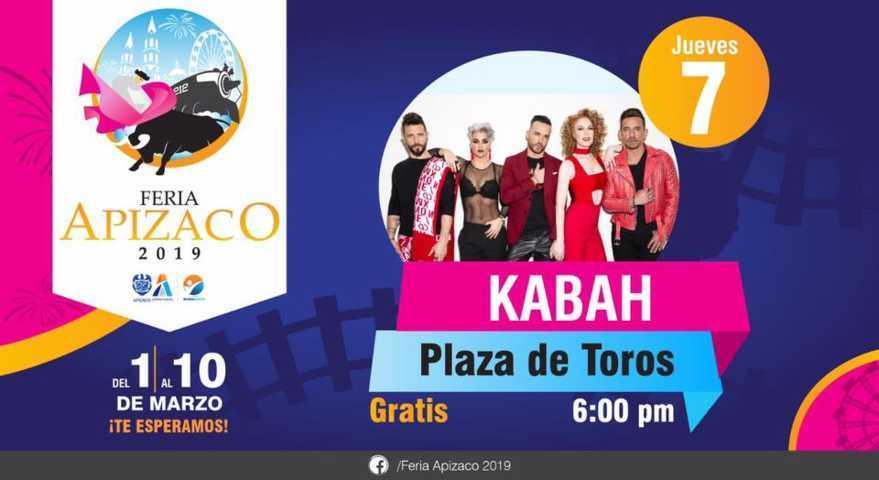 Ofrecerá Kabah concierto gratuito en Apizaco en el marco de la feria 2019