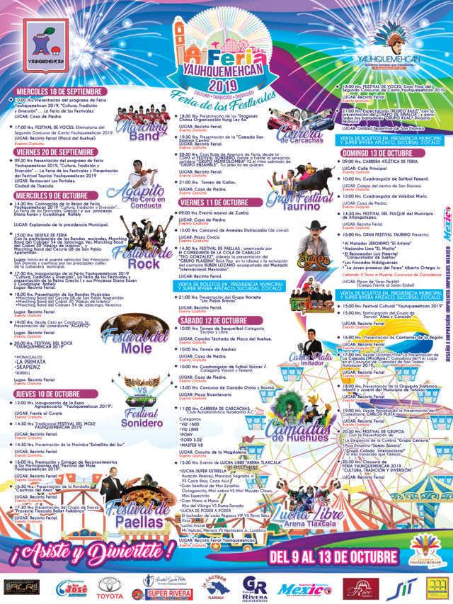 La Feria Yauhquemehcan llega del 9 al 13 de octubre con más festivales: alcalde