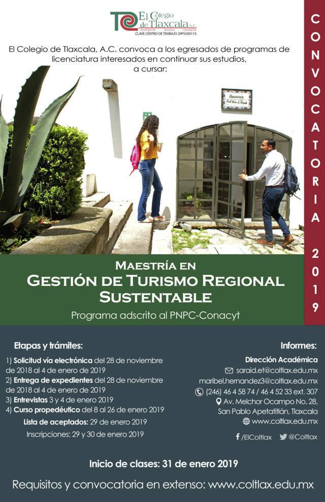Abre Coltlax convocatoria de maestría en Turismo Regional Sustentable