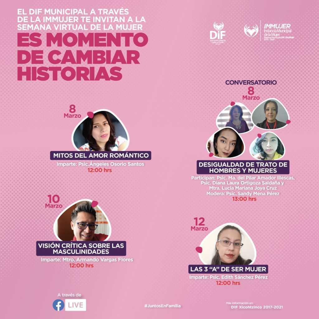 Realizará DIF e IMMUJER Xicohtzinco, Semana Virtual de la Mujer