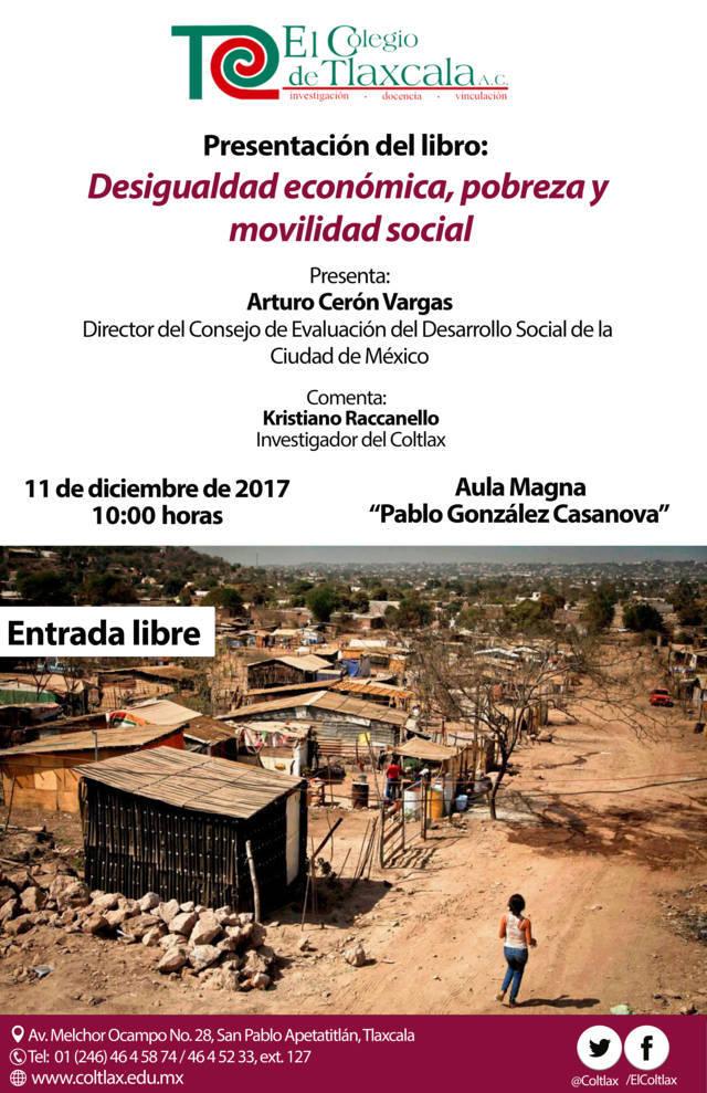 Invita Coltlax a presentación de libro sobre desigualdad económica y movilidad social