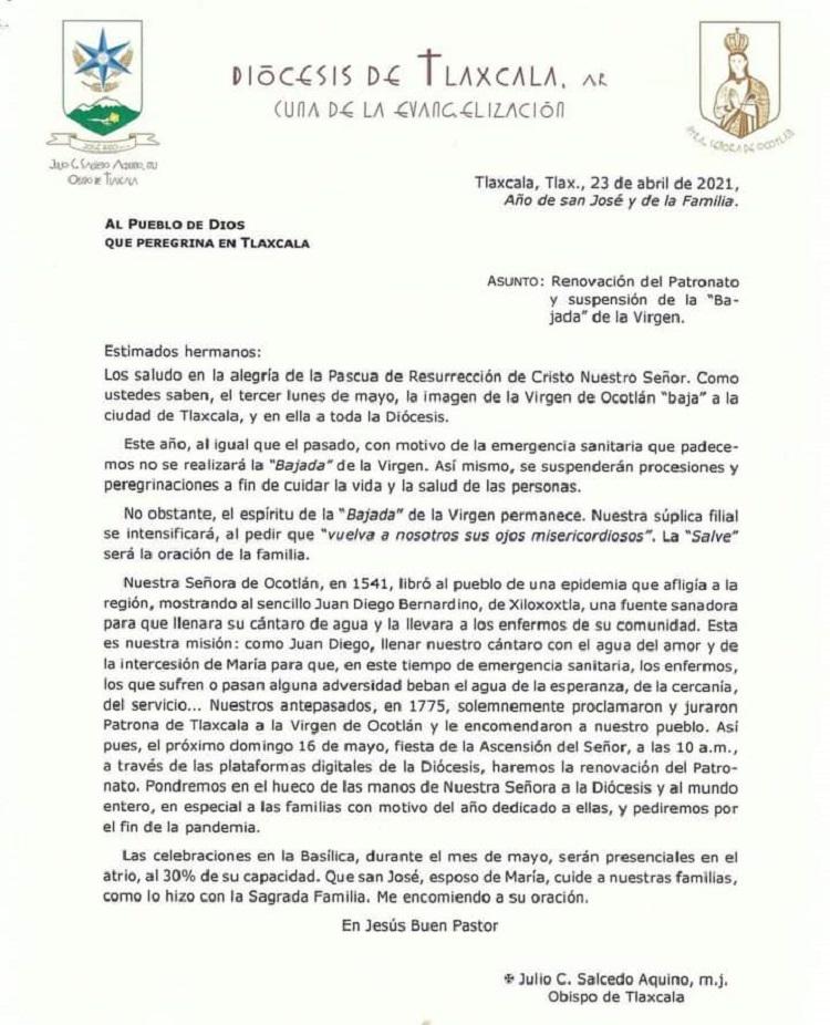 En mayo no bajará la Virgen de Ocotlán; es el segundo año que se cancela