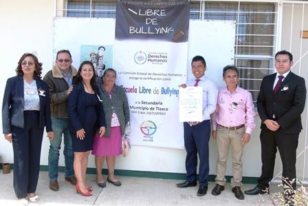 Certifica CEDH a otra telesecundaria como libre de bullying