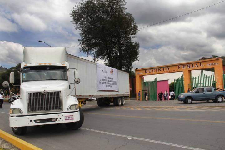 Envía Tlaxcala 75 toneladas de ayuda a afectados por los sismos