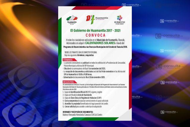 Emite Gobierno de Huamantla convocatoria para adquisición de calentador solar gratuito