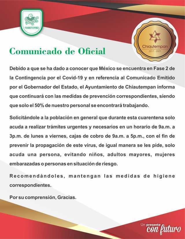 El Ayuntamiento de Chiautempan emite comunicado ante contingencia del COVID-19