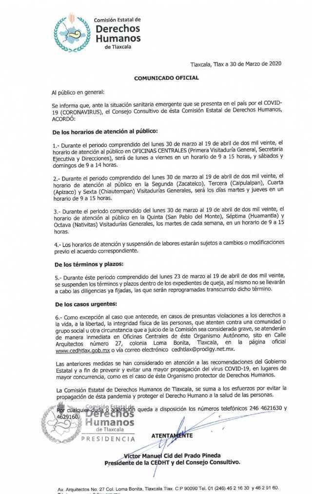 La CEDH emite un comunicado por motivo de la contingencia del Covid-19