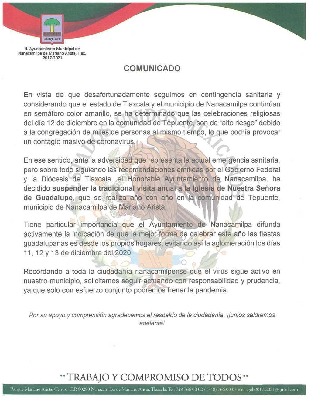 Suspenden visitas a la Iglesia de la Virgen de Guadalupe en Tepuente, Nanacamilpa