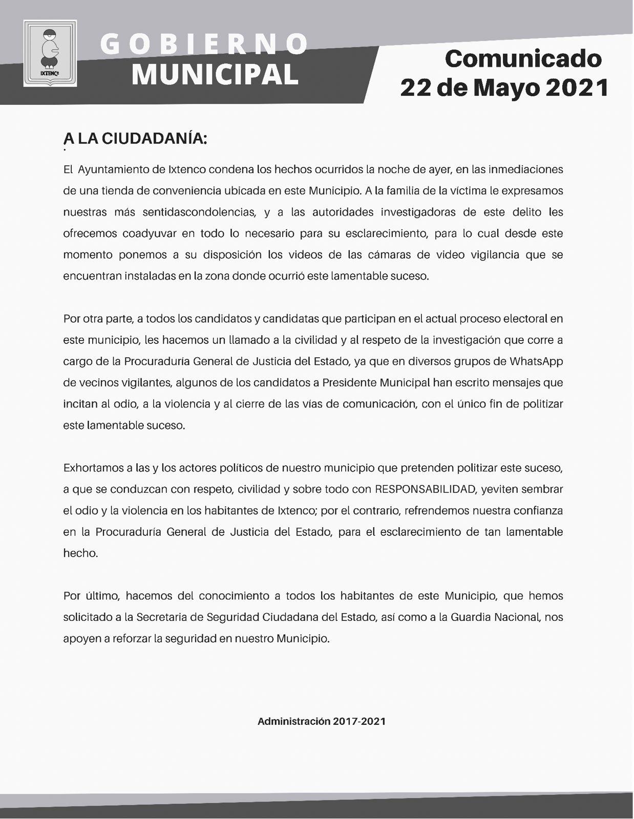 Posicionamiento del ayuntamiento de Ixtenco sobre el homicidio ocurrido ayer
