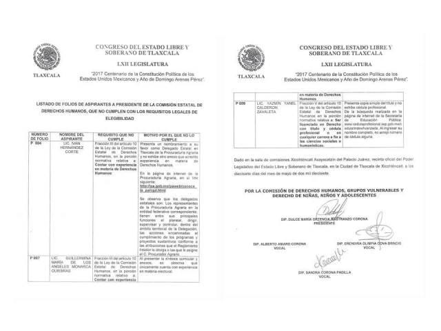 Depuran lista de aspirantes a la CEDH; quedan once