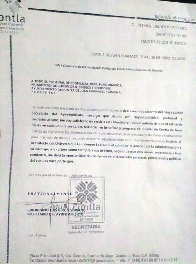 Se va secretario del ayuntamiento de Contla tras irregularidades