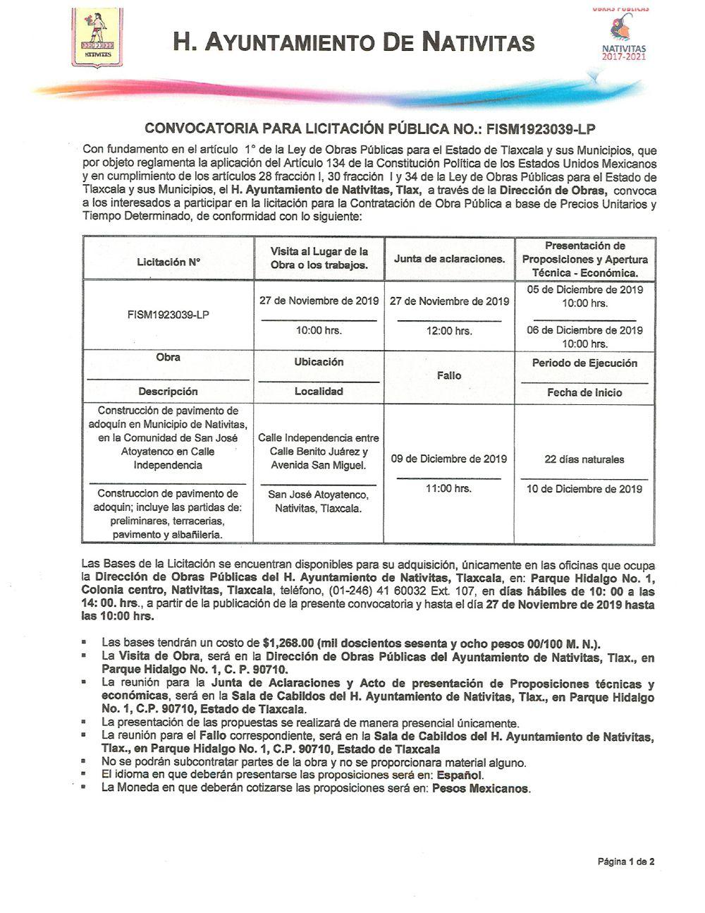 Convocatoria para licitación pública No. FISM1923039-LP de Natvitas