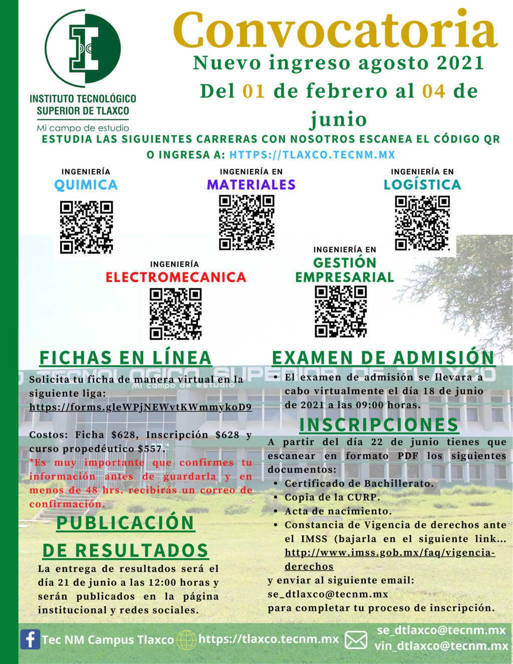 Tecnológico Nacional De México campus tlaxco abrirá su convocatoria de Admisión 2021