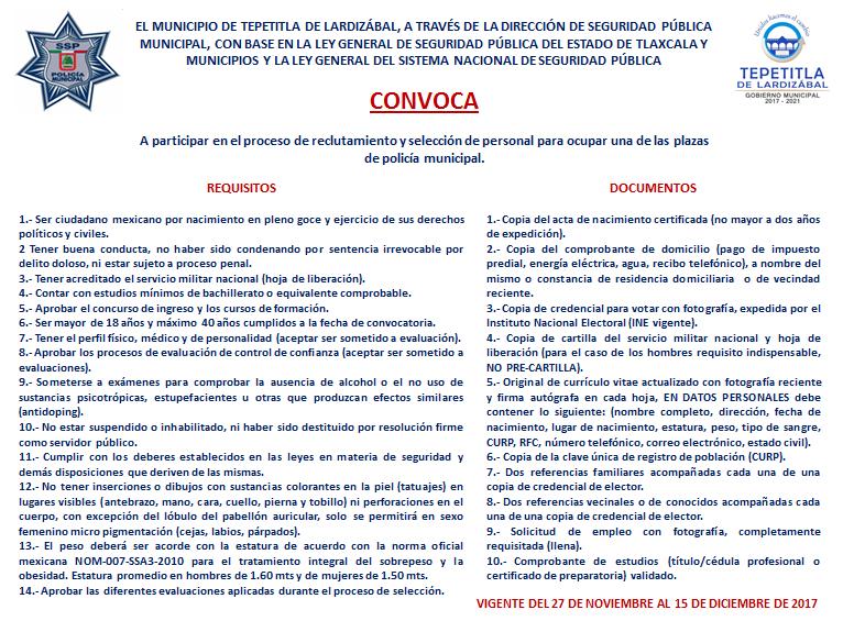 Ayuntamiento de Lardizábal abre convocatoria para reclutar elementos de seguridad
