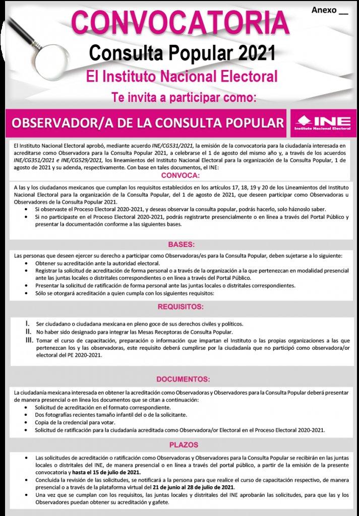 Exhorta INE Tlaxcala a participar en observación de la consulta popular