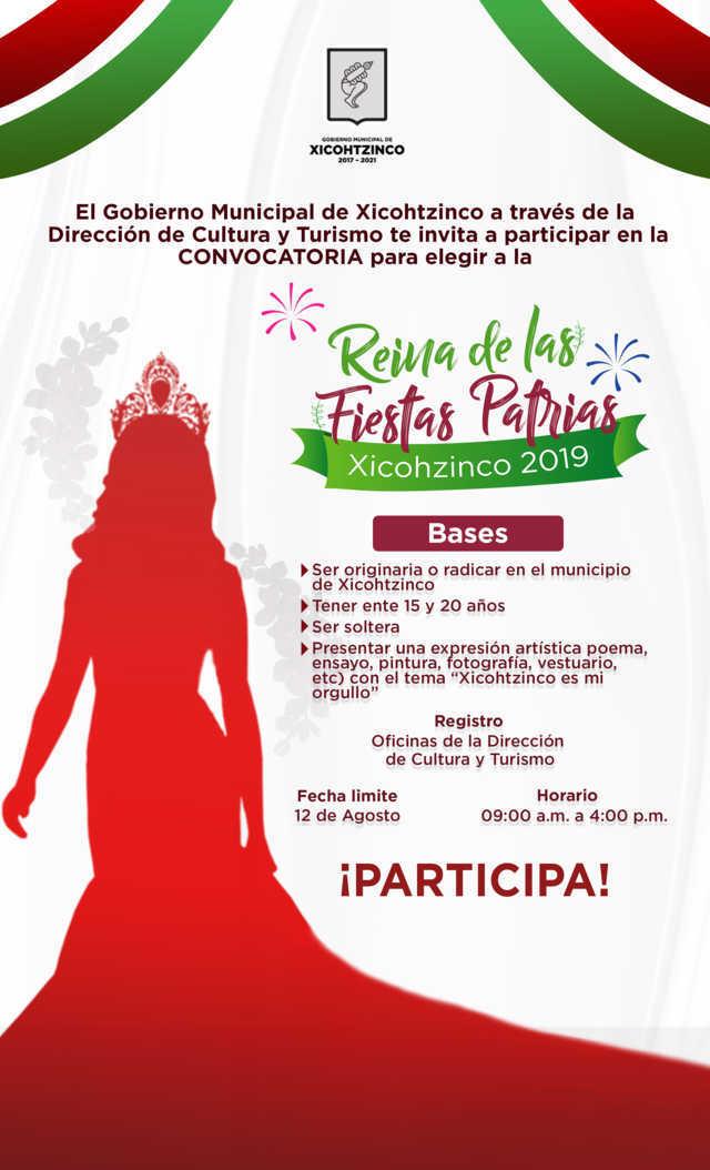 Lanza Xicohtzinco convocatoria para elegir a Reina de las Fiestas Patrias