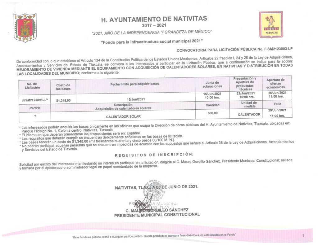 Ayuntamiento de Nativitas lanza licitación para  obra pública