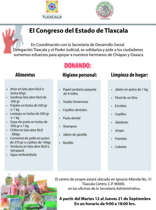 Se suman Congreso, Poder Judicial y Sedesol como centro de acopio para damnificados del sismo