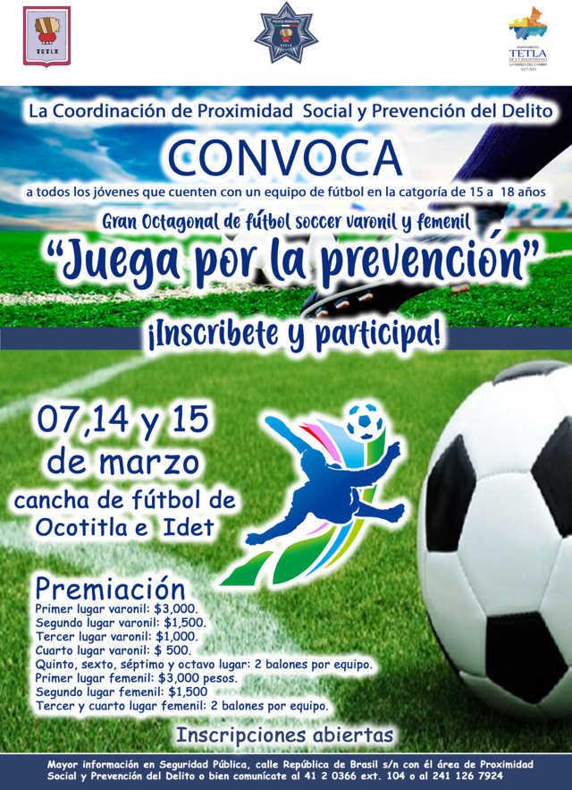 Invitan a octagonal de fútbol en Tetla, para prevenir adicciones