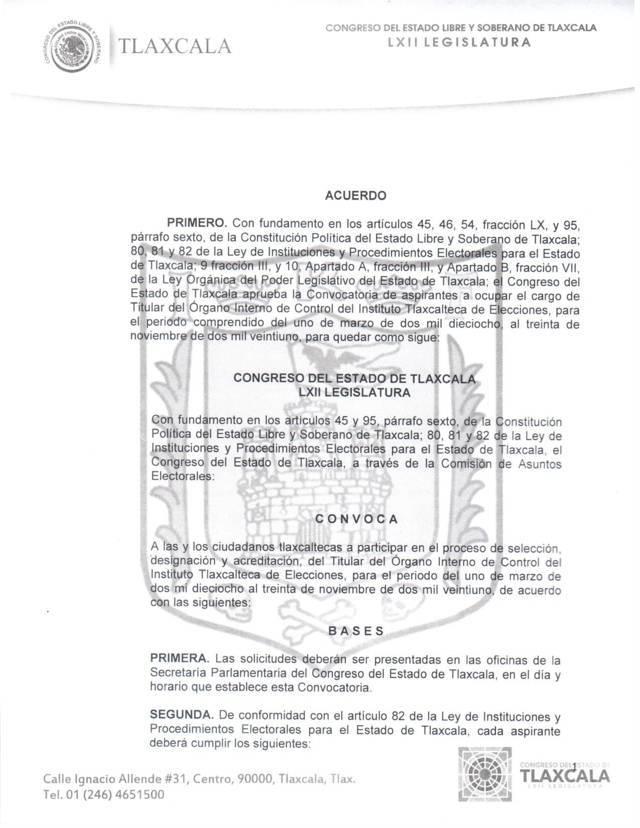 Convocatoria para nuevo Titular del Órgano Interno de Control del ITE