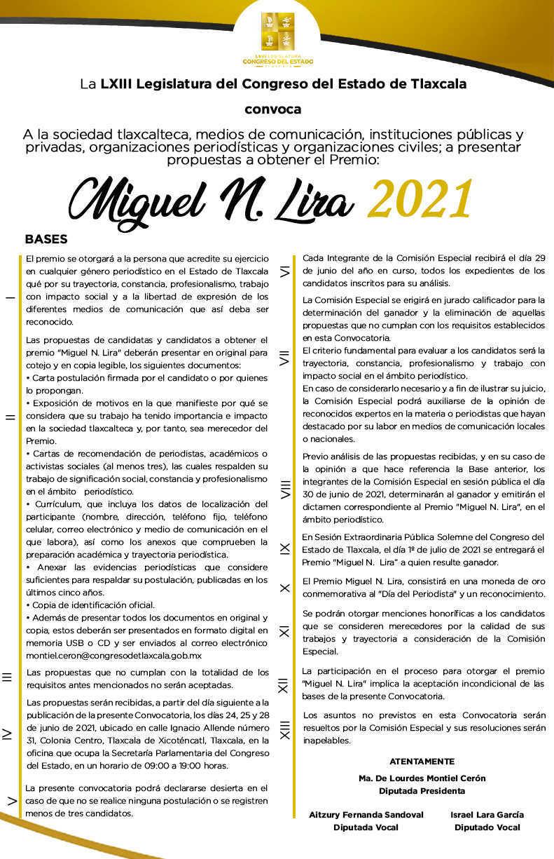 Presenta Congreso convocatoria para otorgar el premio Miguel N. Lira